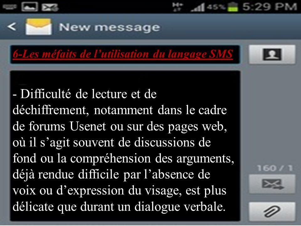 6-Les méfaits de l'utilisation du langage SMS