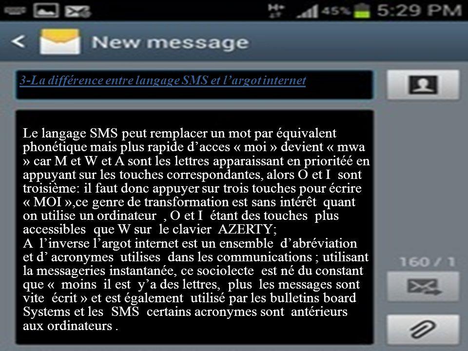 3-La différence entre langage SMS et l'argot internet