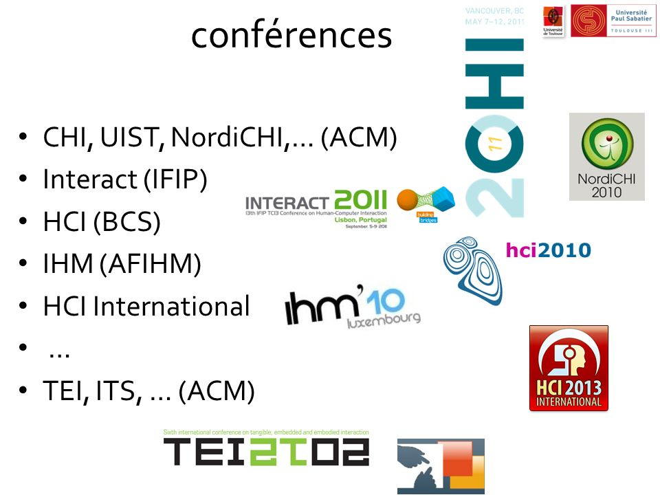 conférences CHI, UIST, NordiCHI,… (ACM) Interact (IFIP) HCI (BCS)