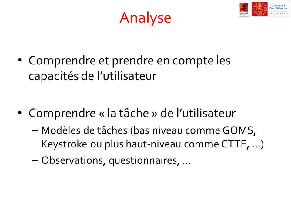 Analyse Comprendre et prendre en compte les capacités de l'utilisateur
