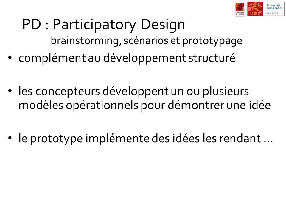 PD : Participatory Design brainstorming, scénarios et prototypage