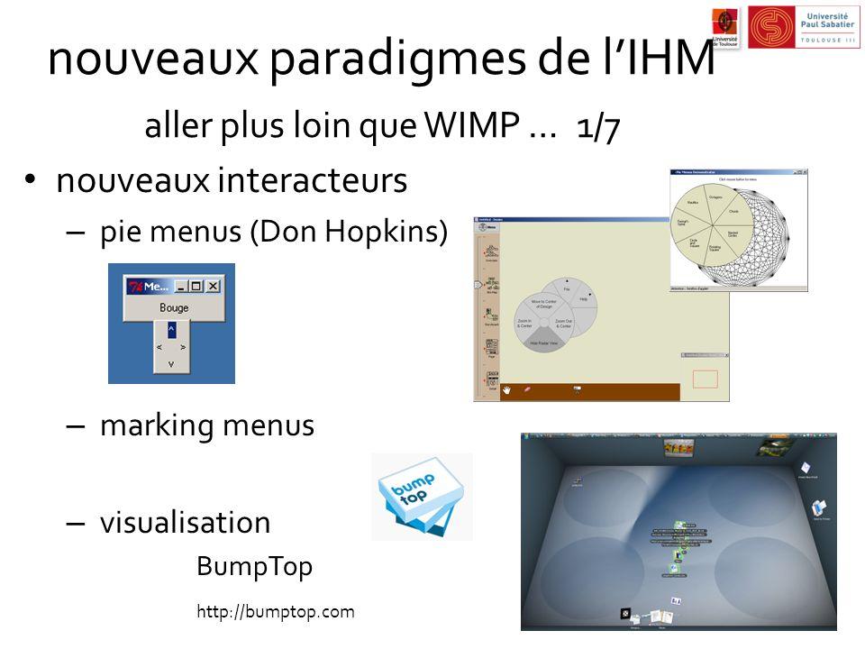 nouveaux paradigmes de l'IHM aller plus loin que WIMP … 1/7