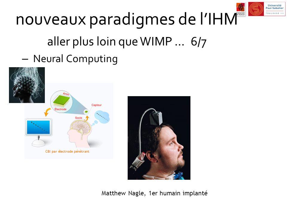 nouveaux paradigmes de l'IHM aller plus loin que WIMP … 6/7