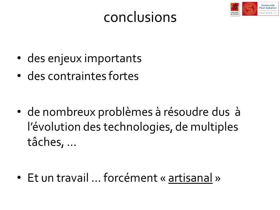 conclusions des enjeux importants des contraintes fortes