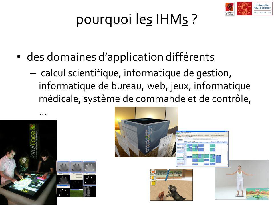 pourquoi les IHMs des domaines d'application différents