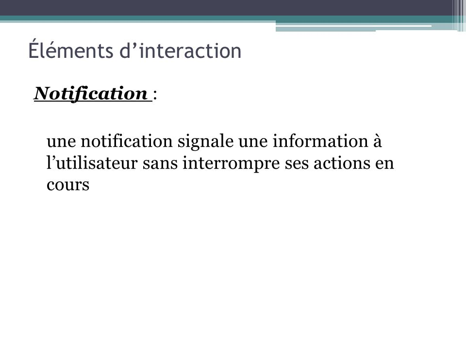 Éléments d'interaction