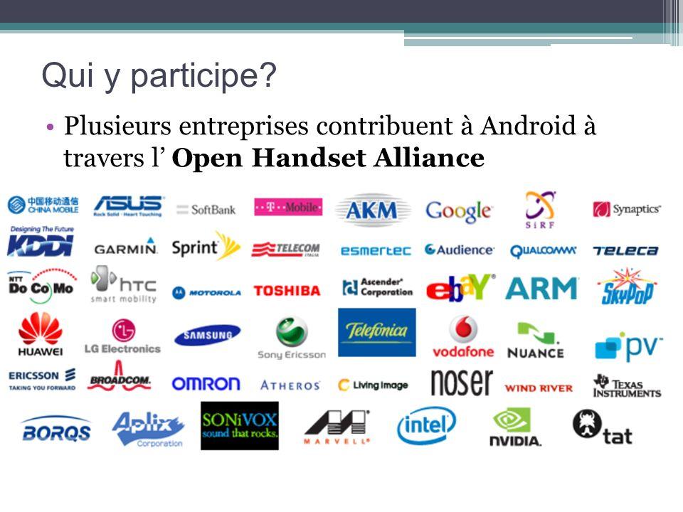 Qui y participe Plusieurs entreprises contribuent à Android à travers l' Open Handset Alliance