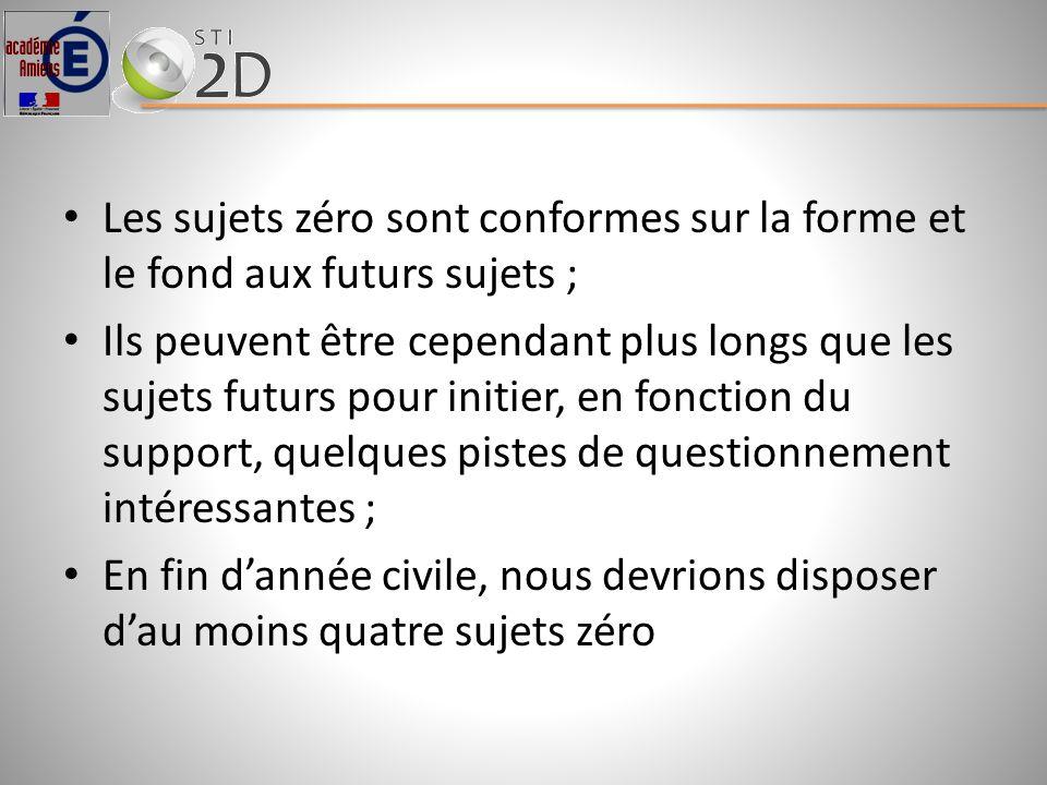 Les sujets zéro sont conformes sur la forme et le fond aux futurs sujets ;