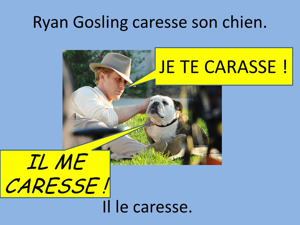 Ryan Gosling caresse son chien.