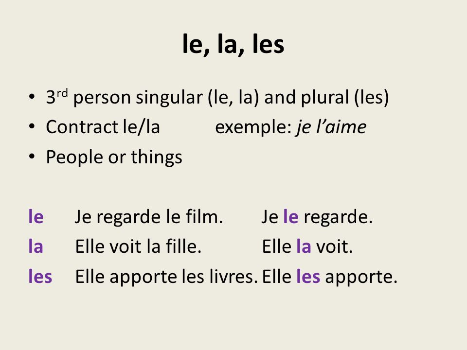 le, la, les 3rd person singular (le, la) and plural (les)