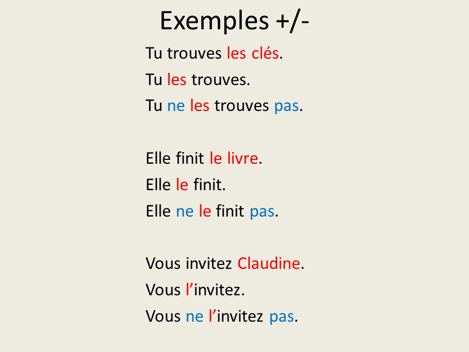Exemples +/-