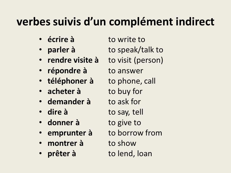 verbes suivis d'un complément indirect