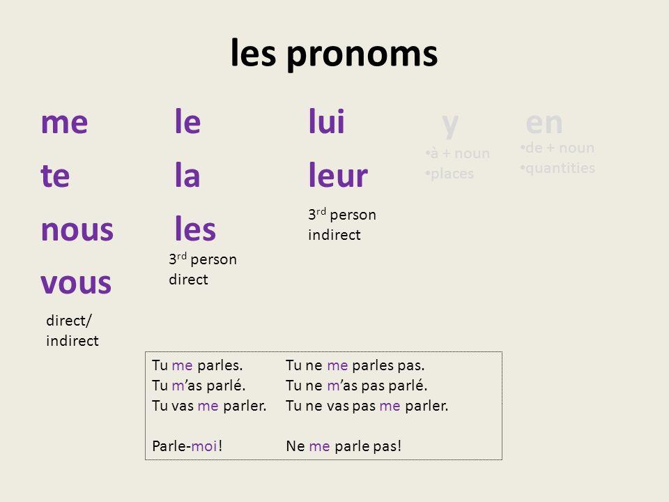 les pronoms me le lui y en te la leur nous les vous de + noun à + noun