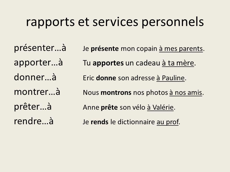 rapports et services personnels