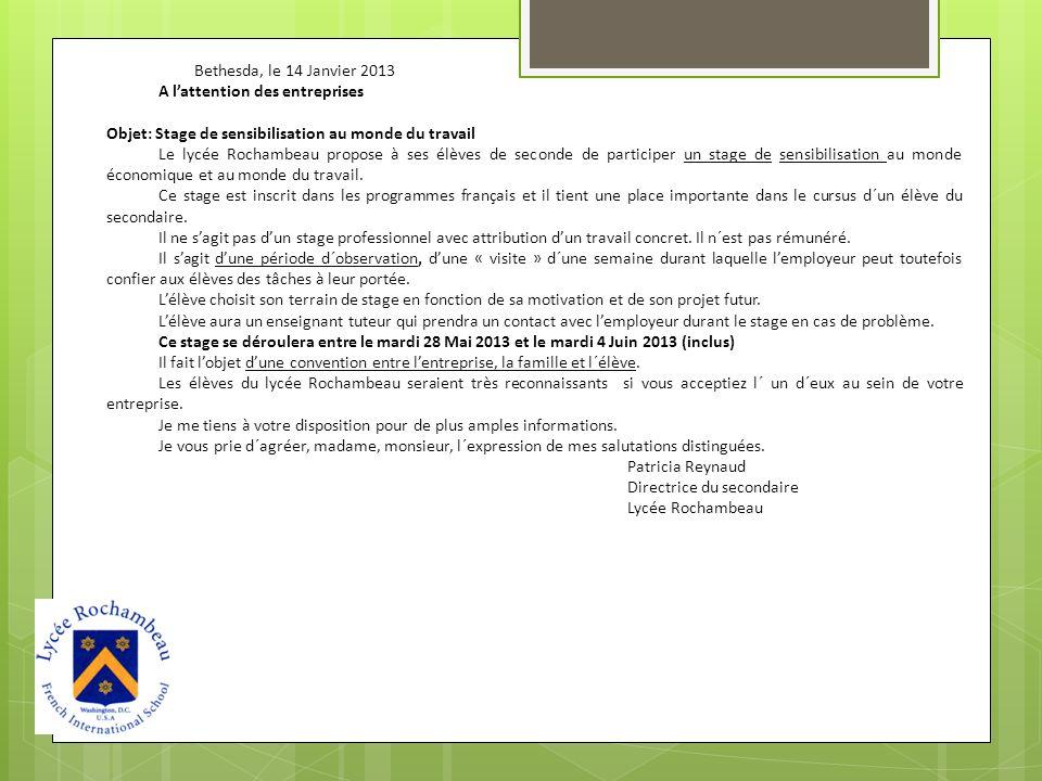 Bethesda, le 14 Janvier 2013 A l'attention des entreprises. Objet: Stage de sensibilisation au monde du travail.