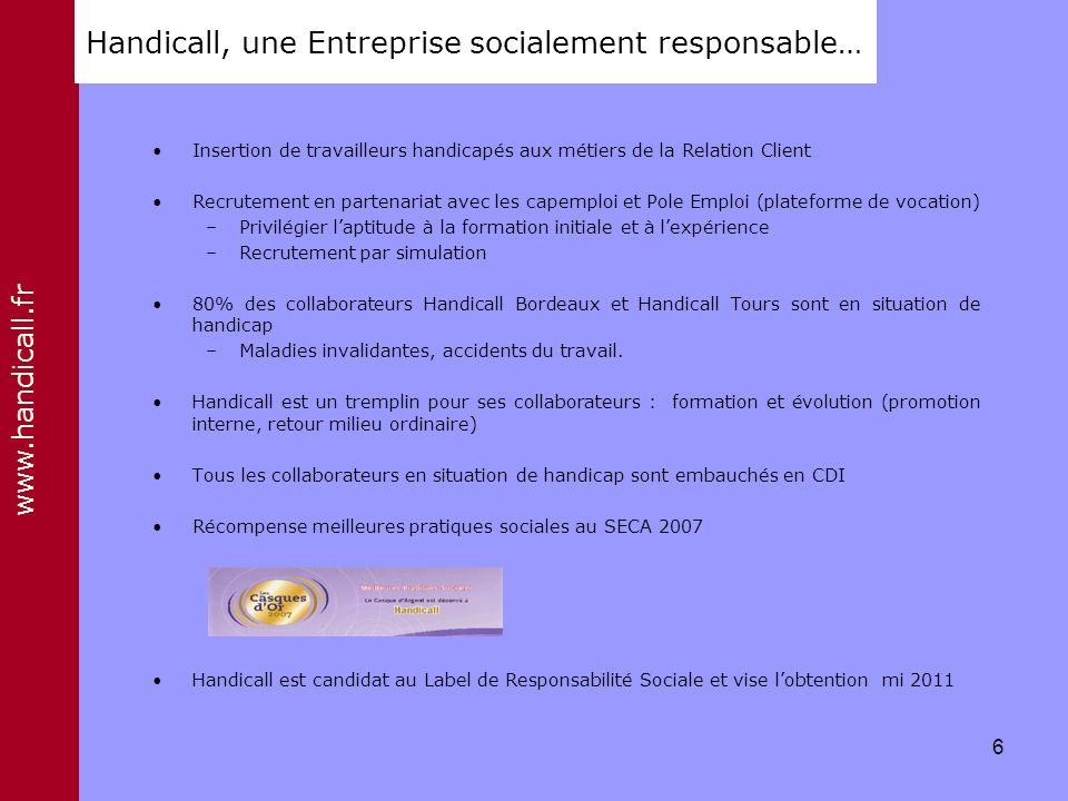 Handicall, une Entreprise socialement responsable…