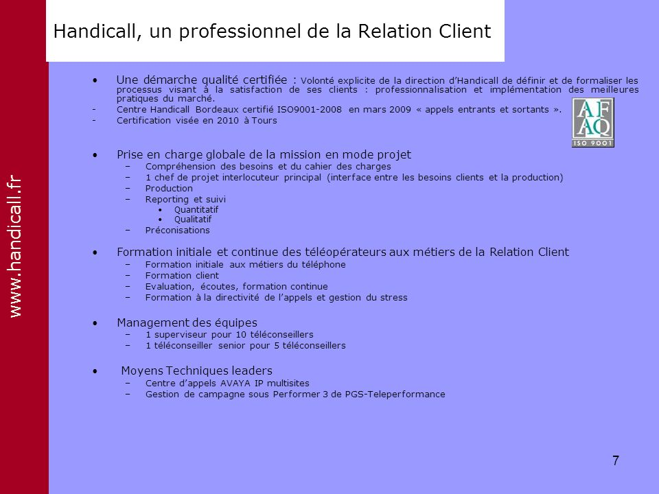 Handicall, un professionnel de la Relation Client
