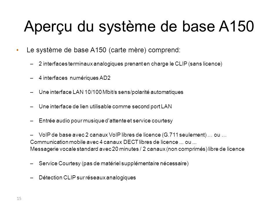 Aperçu du système de base A150