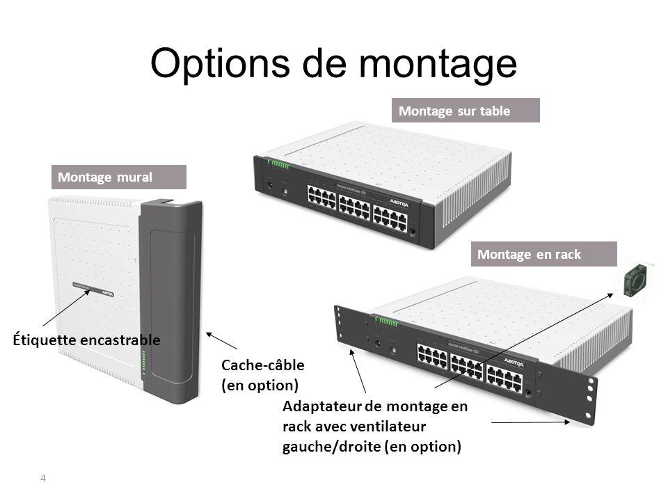 Options de montage Rack Étiquette encastrable Cache-câble (en option)