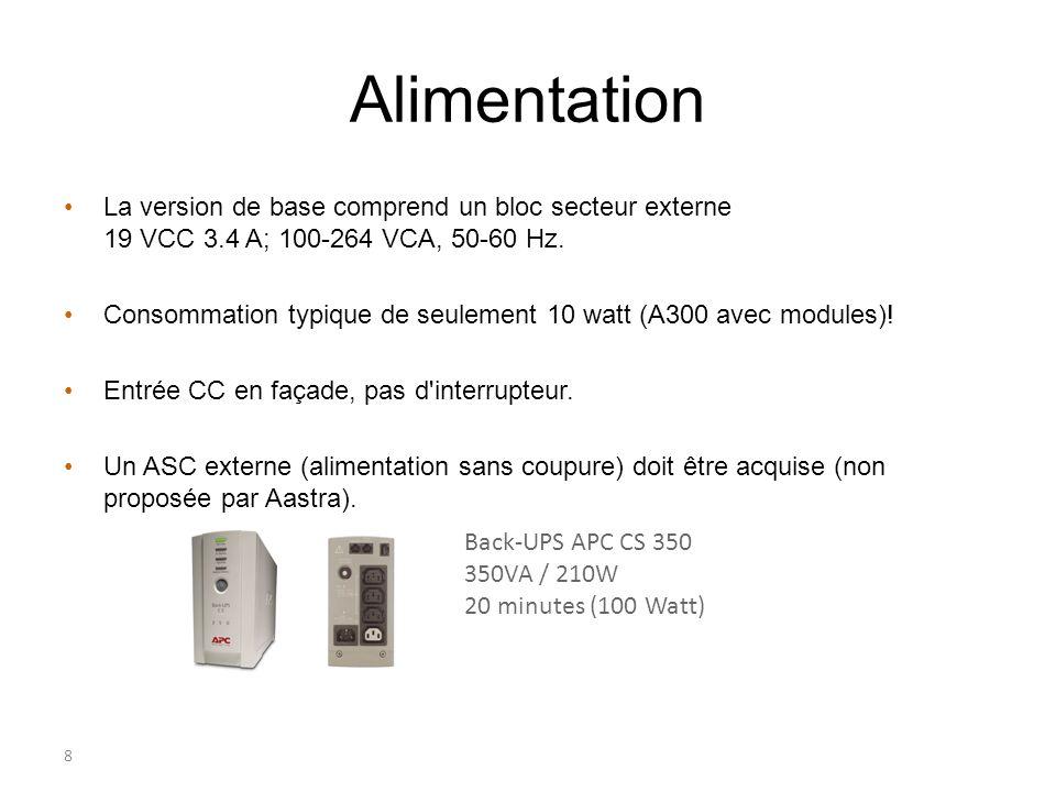 Alimentation La version de base comprend un bloc secteur externe 19 VCC 3.4 A; 100-264 VCA, 50-60 Hz.