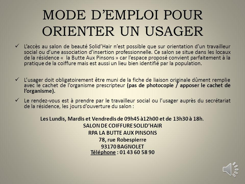 MODE D'EMPLOI POUR ORIENTER UN USAGER