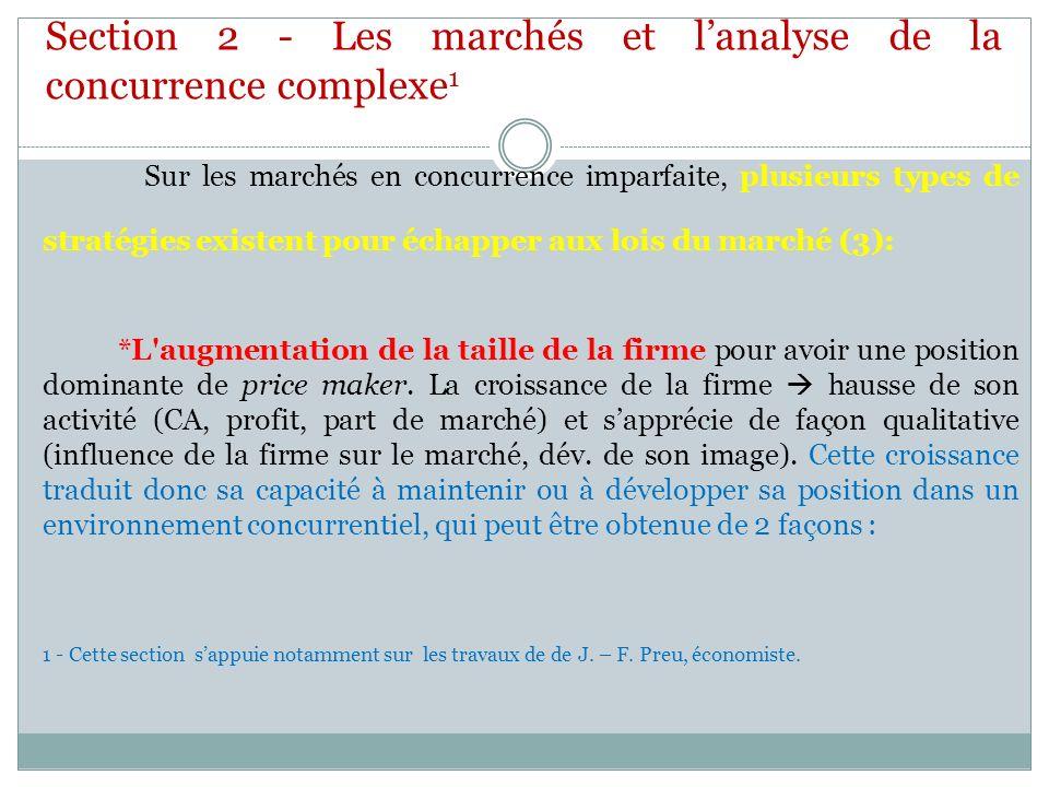 Section 2 - Les marchés et l'analyse de la concurrence complexe1