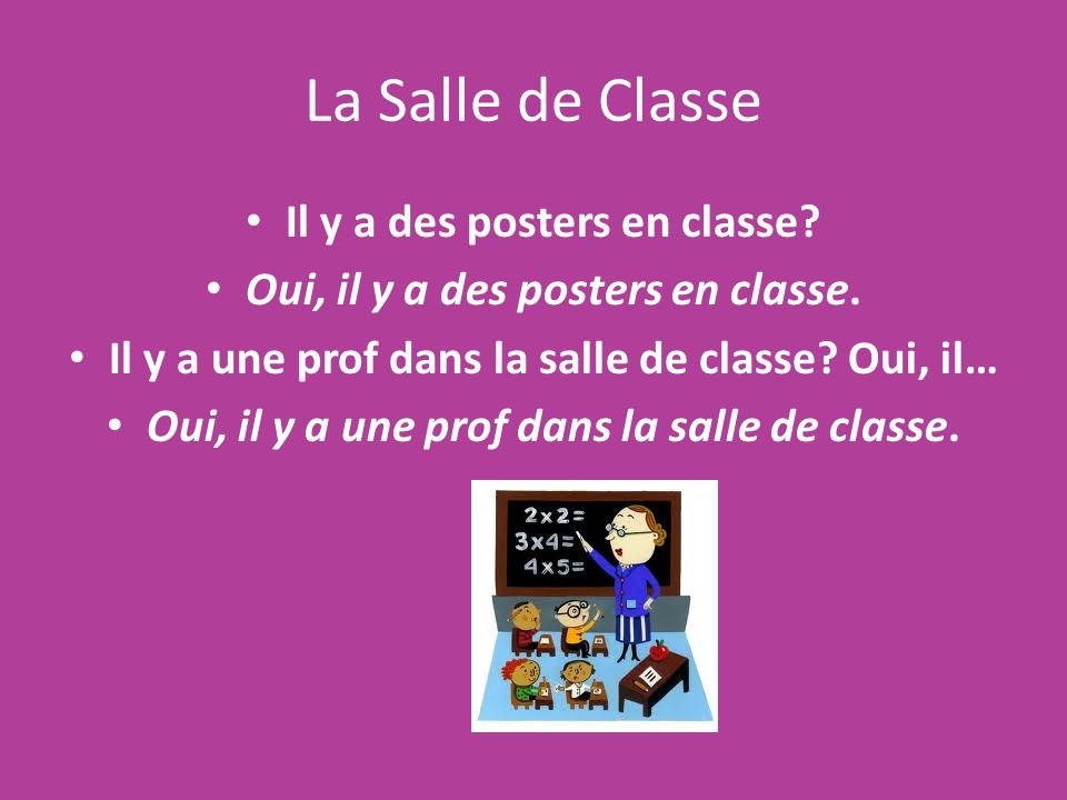 La Salle de Classe Il y a des posters en classe