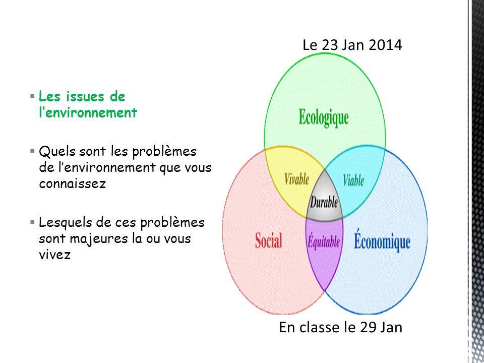 Le 23 Jan 2014 En classe le 29 Jan Les issues de l'environnement