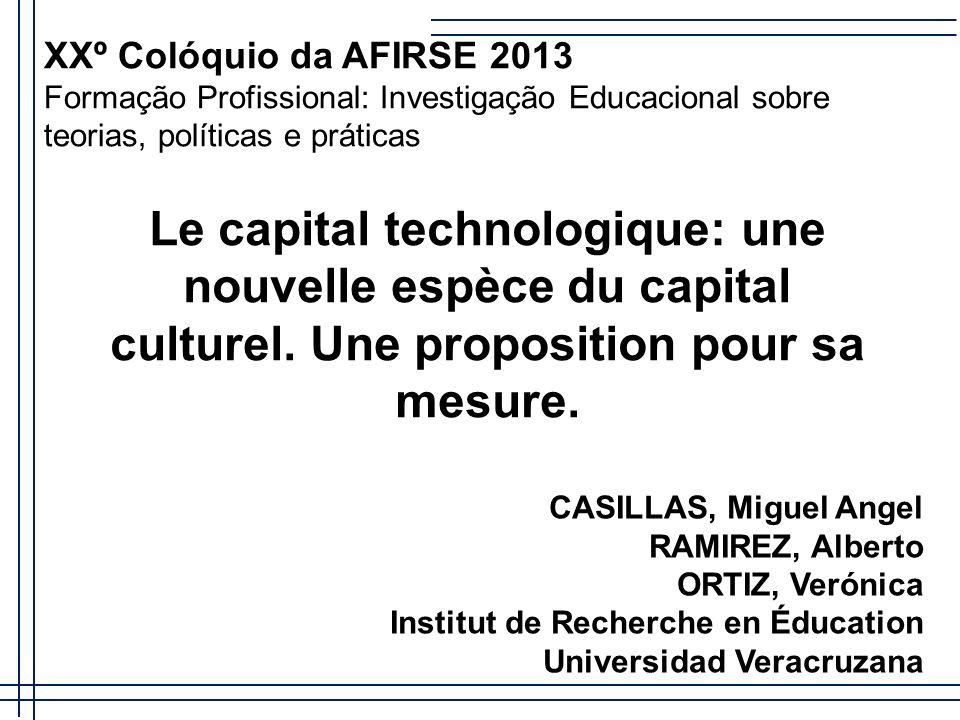 XXº Colóquio da AFIRSE 2013 Formação Profissional: Investigação Educacional sobre teorias, políticas e práticas