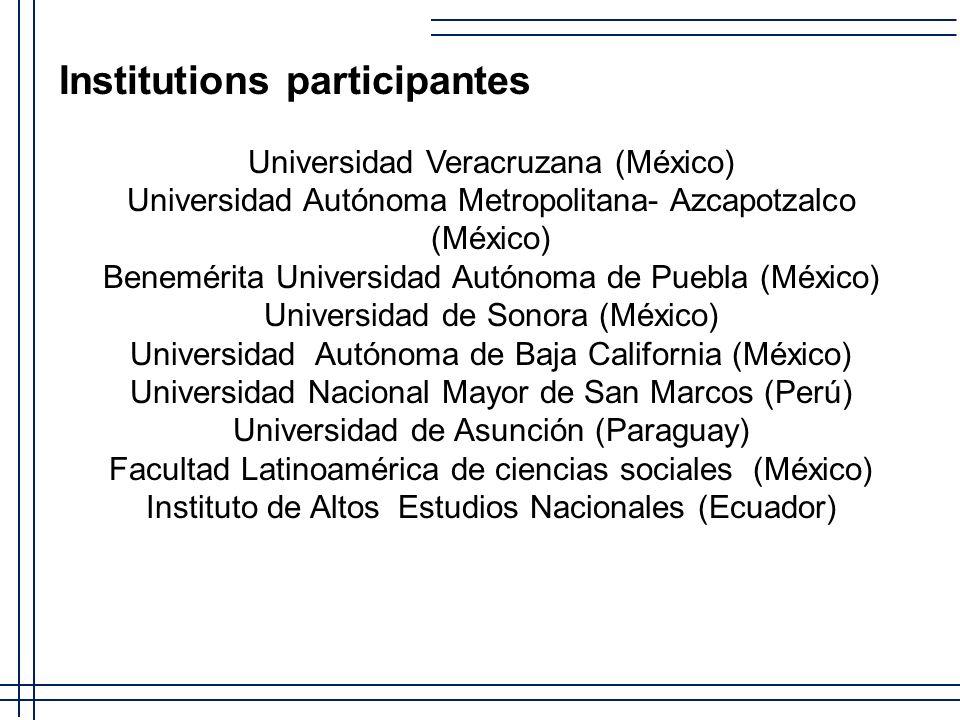 Institutions participantes