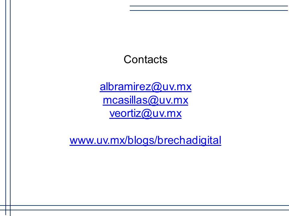 Contacts albramirez@uv.mx mcasillas@uv.mx veortiz@uv.mx www.uv.mx/blogs/brechadigital