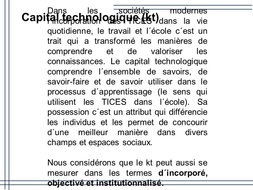 Capital technologique (kt)