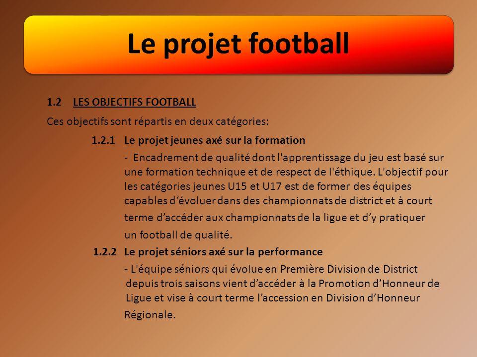 Le projet football 1.2 LES OBJECTIFS FOOTBALL