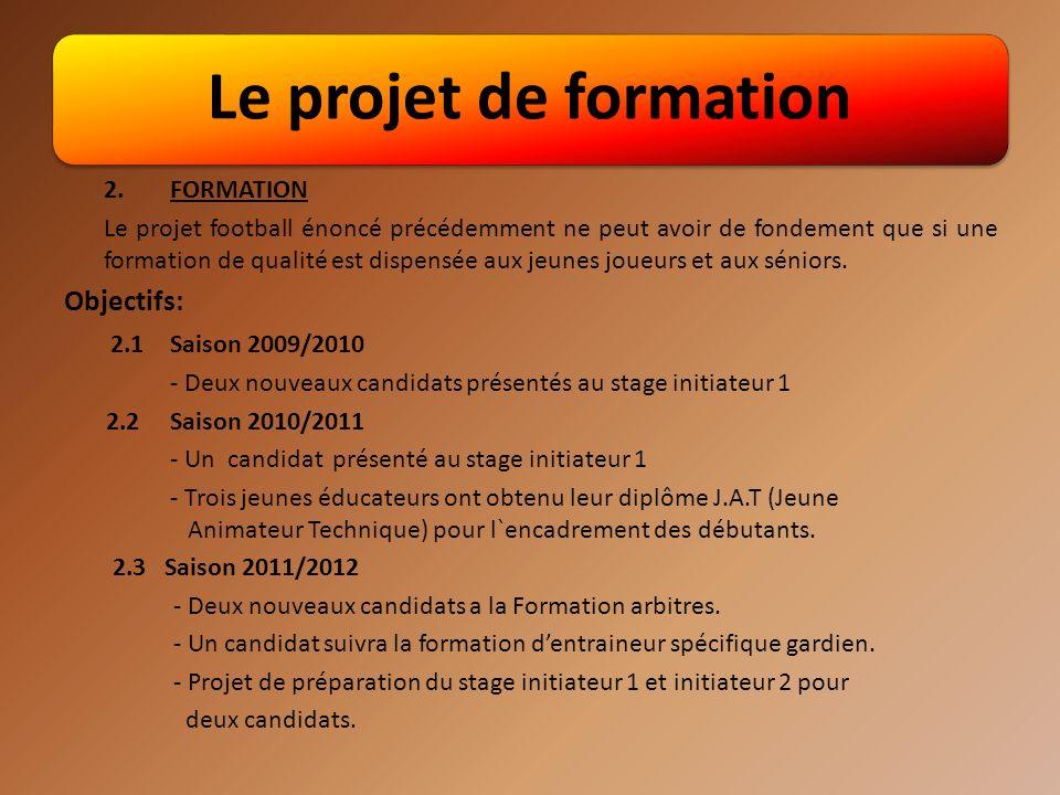 Le projet de formation Objectifs: 2.1 Saison 2009/2010 2. FORMATION