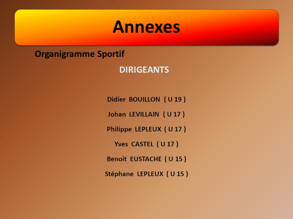 Annexes Organigramme Sportif DIRIGEANTS