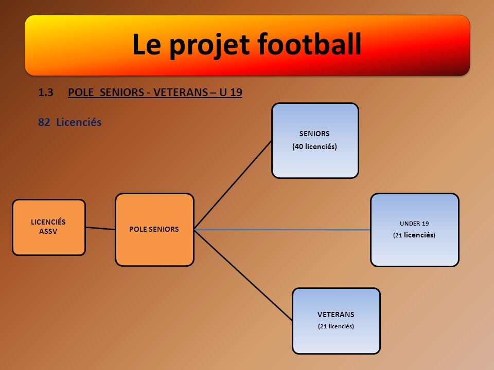Le projet football 1.3 POLE SENIORS - VETERANS – U 19 82 Licenciés