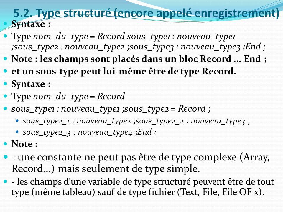 5.2. Type structuré (encore appelé enregistrement)