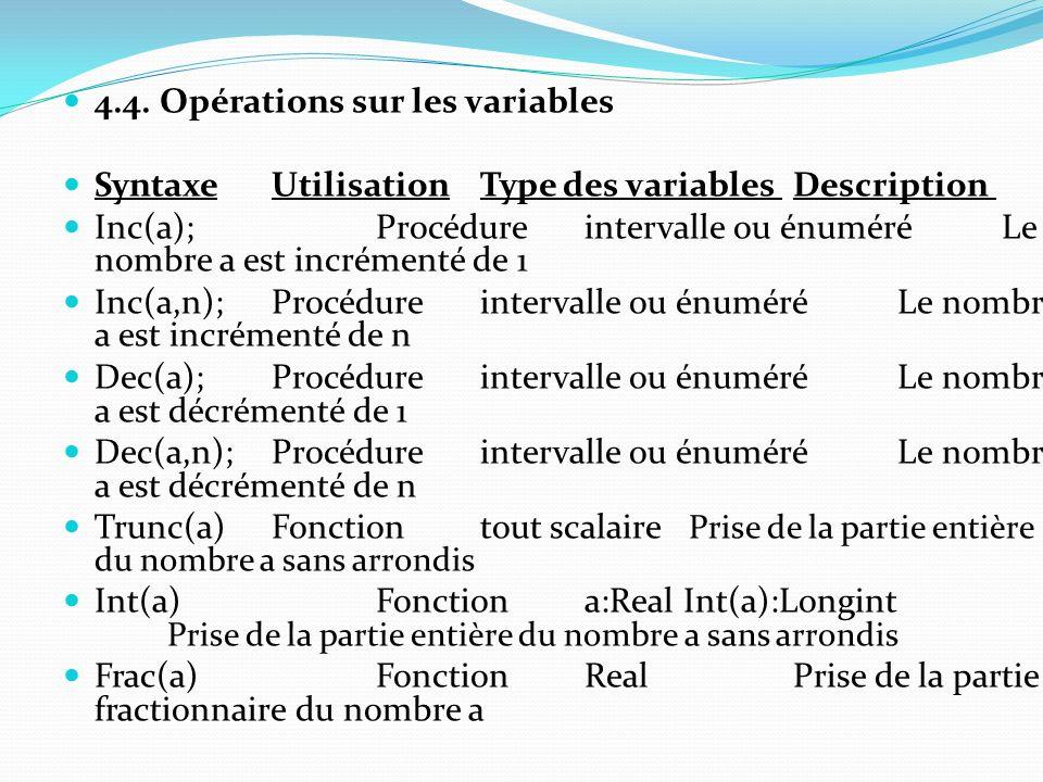4.4. Opérations sur les variables
