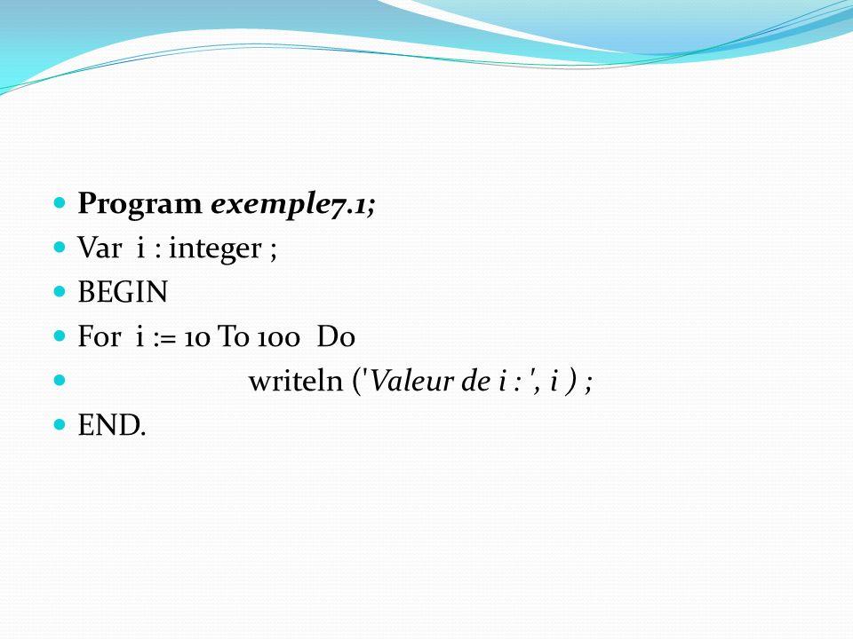 Program exemple7.1; Var i : integer ; BEGIN. For i := 10 To 100 Do. writeln ( Valeur de i : , i ) ;