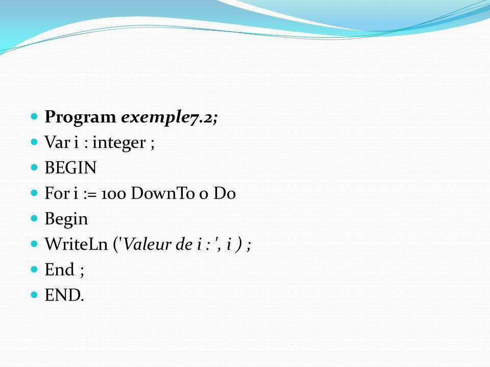 Program exemple7.2; Var i : integer ; BEGIN. For i := 100 DownTo 0 Do. Begin. WriteLn ( Valeur de i : , i ) ;
