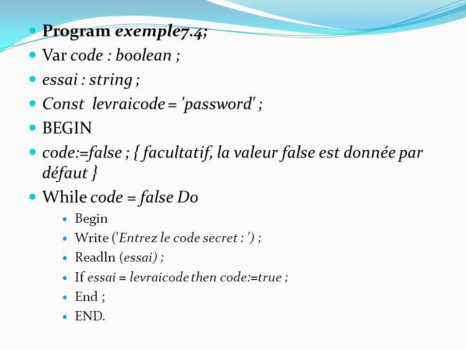 Const levraicode = password ; BEGIN