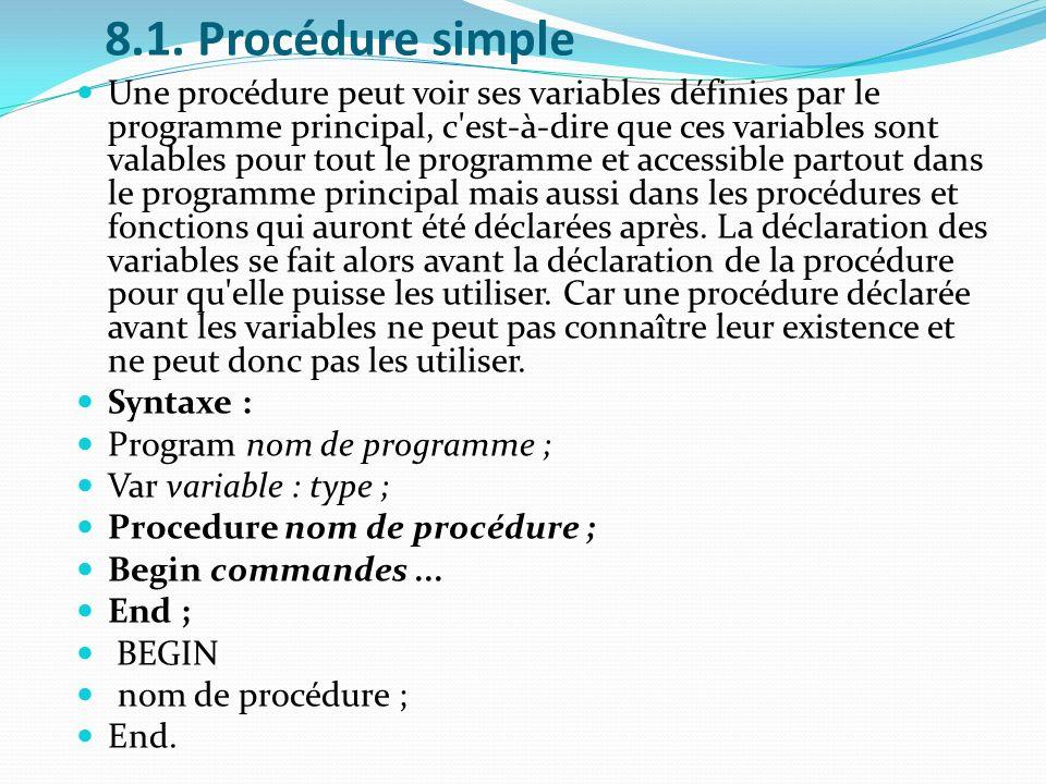 8.1. Procédure simple