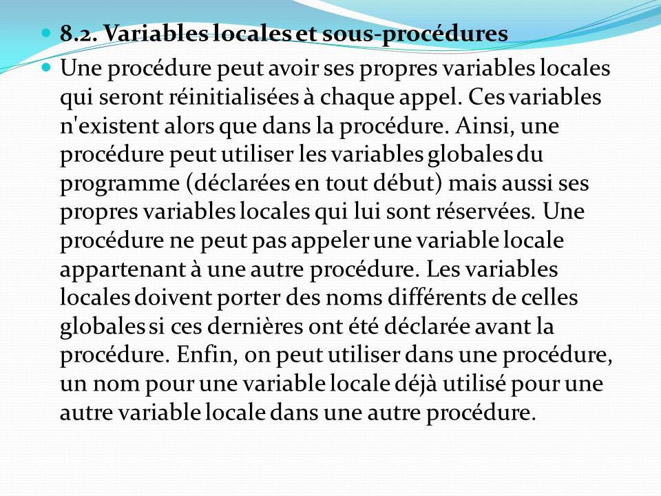 8.2. Variables locales et sous-procédures