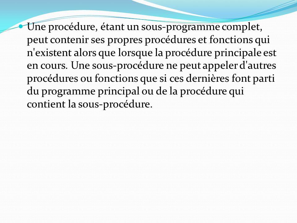 Une procédure, étant un sous-programme complet, peut contenir ses propres procédures et fonctions qui n existent alors que lorsque la procédure principale est en cours.
