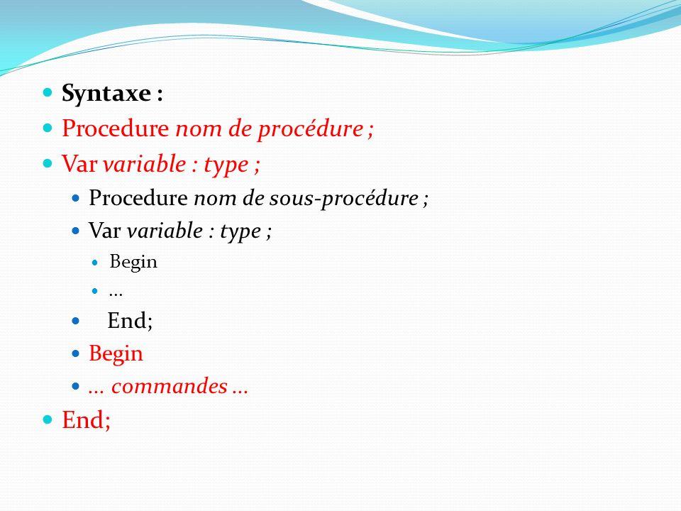 Procedure nom de procédure ; Var variable : type ;