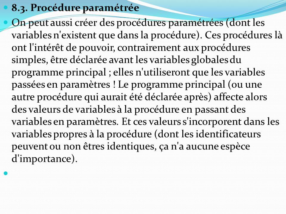 8.3. Procédure paramétrée