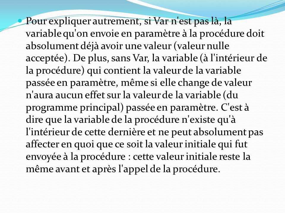 Pour expliquer autrement, si Var n est pas là, la variable qu on envoie en paramètre à la procédure doit absolument déjà avoir une valeur (valeur nulle acceptée).