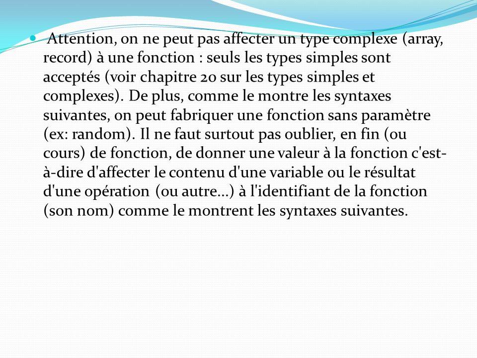 Attention, on ne peut pas affecter un type complexe (array, record) à une fonction : seuls les types simples sont acceptés (voir chapitre 20 sur les types simples et complexes).