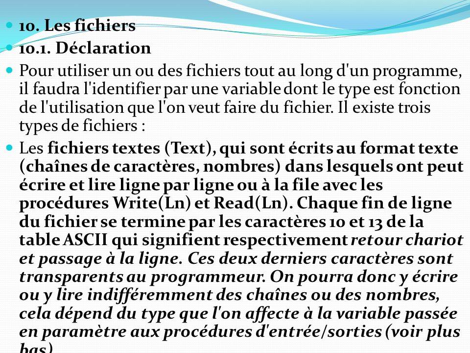 10. Les fichiers 10.1. Déclaration.