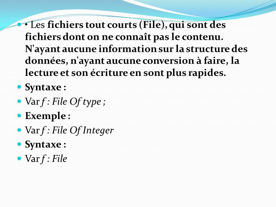 • Les fichiers tout courts (File), qui sont des fichiers dont on ne connaît pas le contenu. N ayant aucune information sur la structure des données, n ayant aucune conversion à faire, la lecture et son écriture en sont plus rapides.